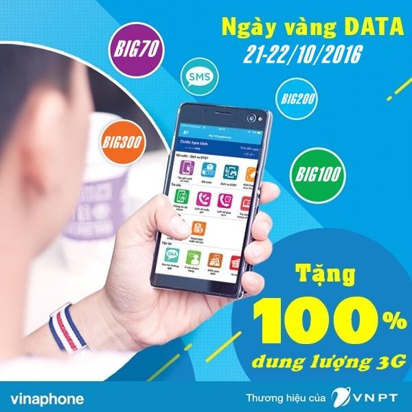 Vinaphone khuyến mãi 100% dung lượng 3G BIG ngày 21-22/10/2016