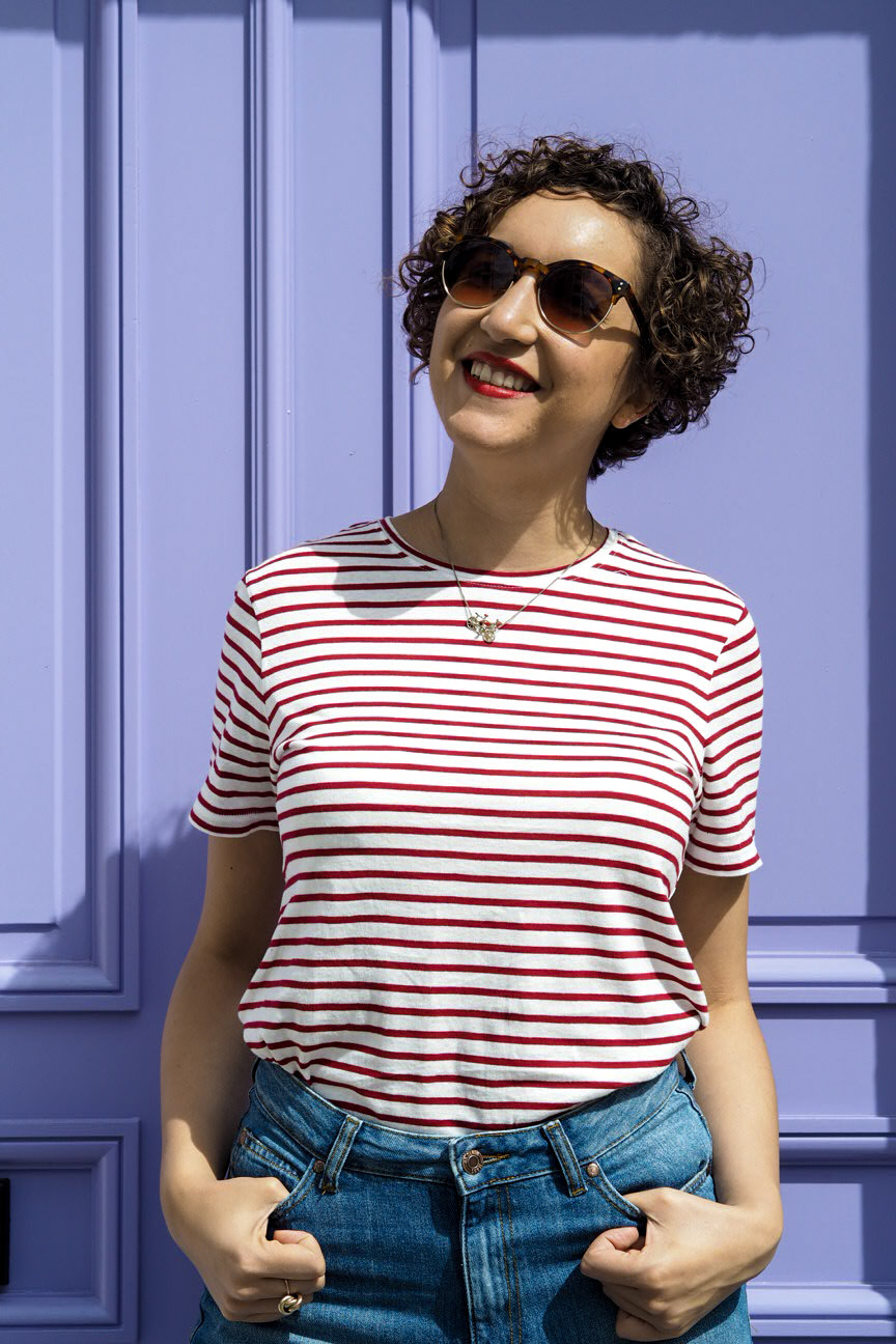Breton stripe top, purple doorway
