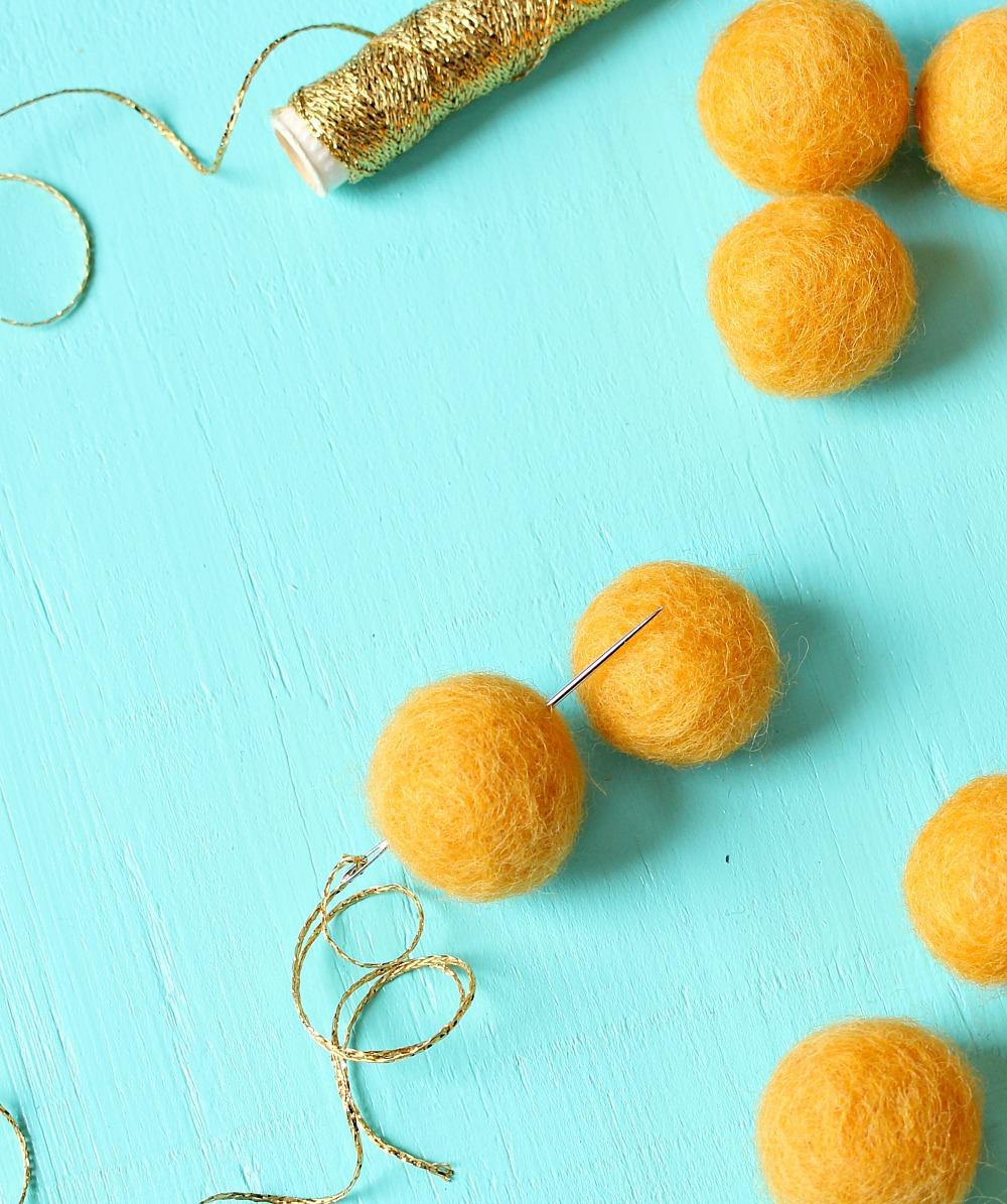 Easy DIY Felted Wool Ball Garland