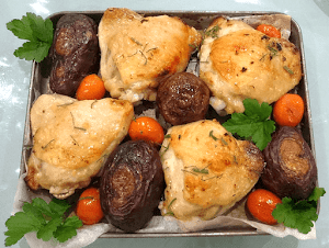 Roasted Chicken with Sapphire Potatoes and Cherry Tomatoes