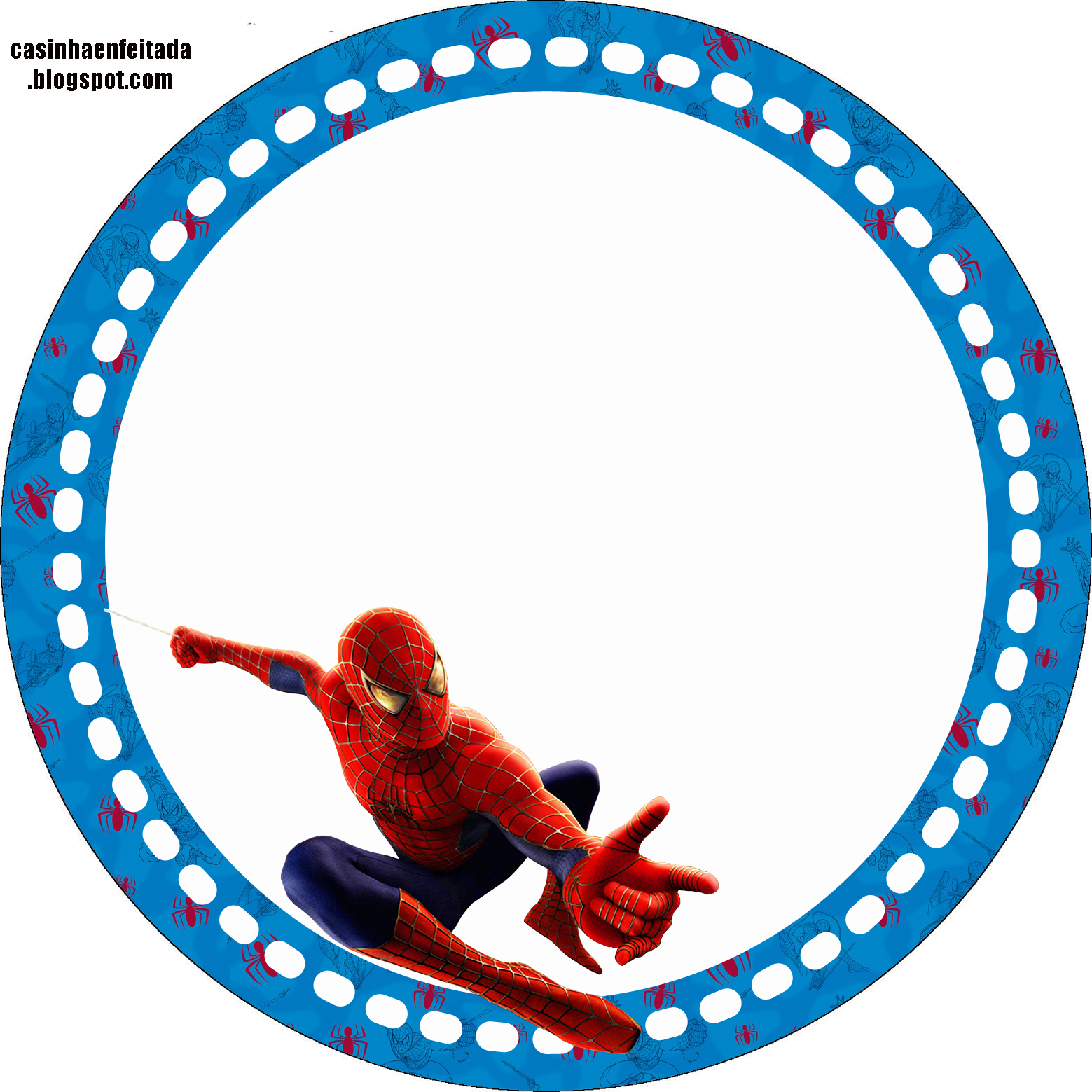 Spiderman blue background Free Printable Kit Oh My Fiesta! for Geeks