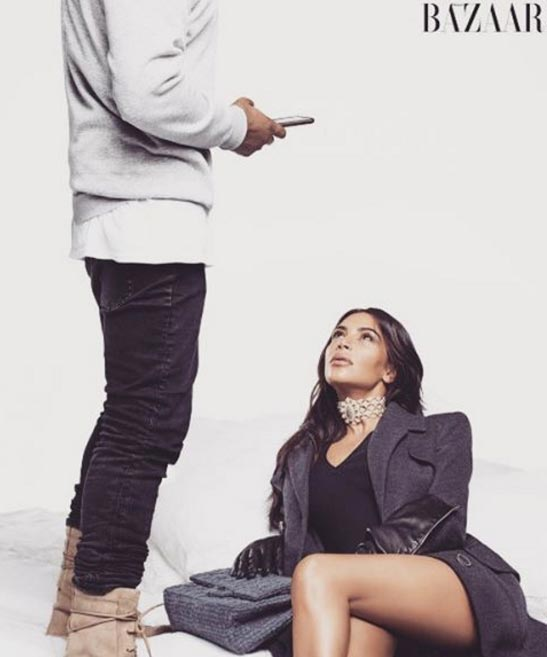 First photos from Kim K and Kanye West's photoshoot for Bazaar Magazine