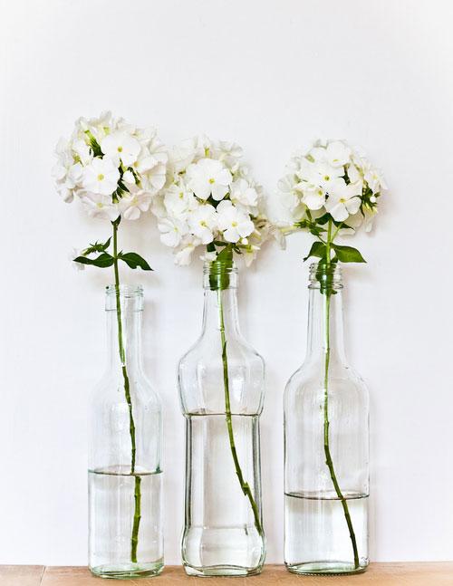 flores blancas en botellas de cristal