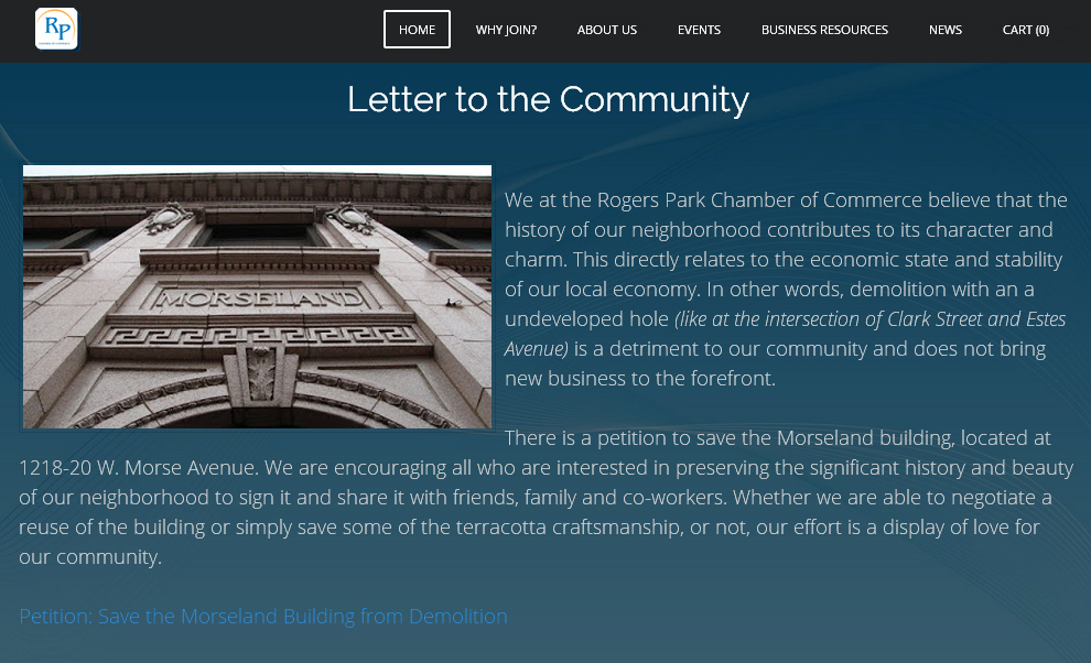 Rogers Park Chamber of Commerce Letter to the Community - Morseland