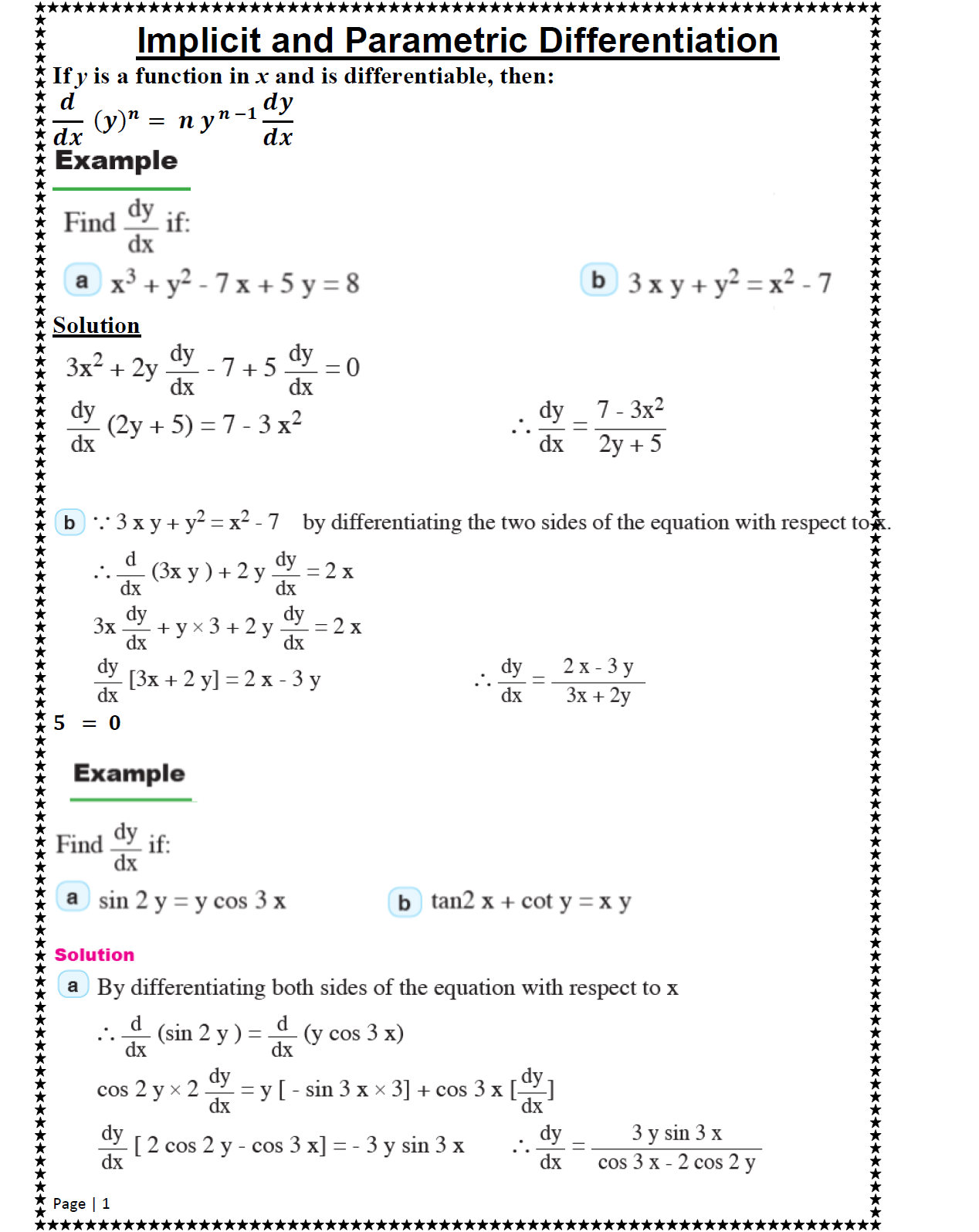 General Maths Implicit And Parametric Differentiation
