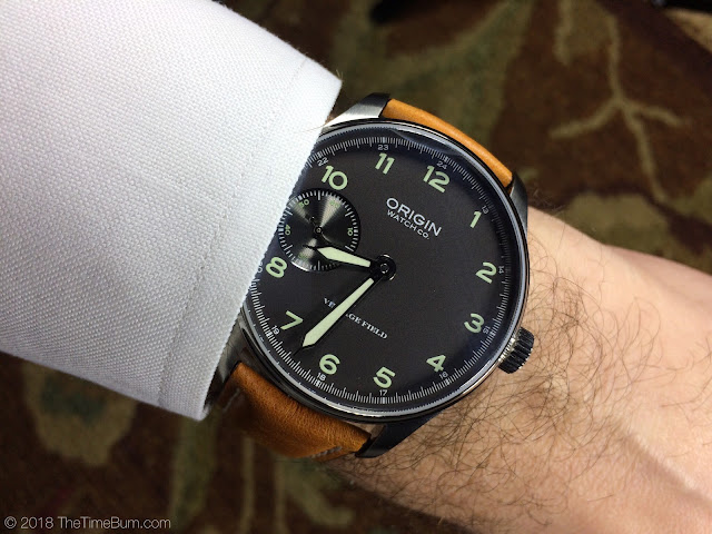 Origin Watch Company Field Watch 2nd Edition gray wrist shot