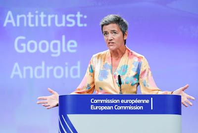 UE anuncia multa recorde de 4,3 bilhões de euros ao Google por Android