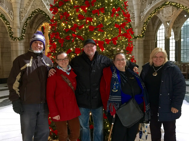 Proud Stairwellers, David, Martha, Pierre, Maggie and Manon on a Carillon visit to Parliament Hill, Ottawa