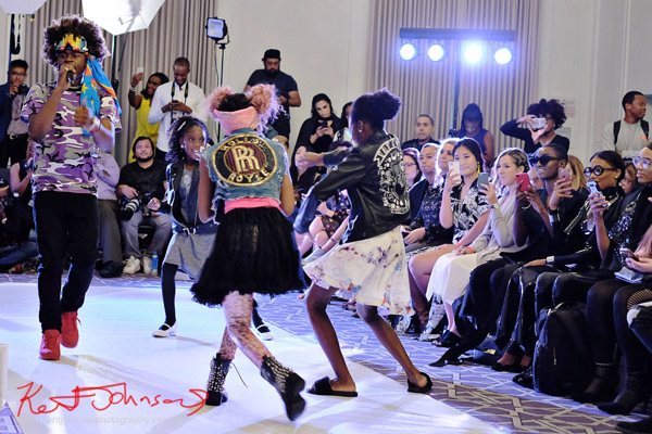 The crowd love it - the phones are OUT! With some help from so even younger dancers! King Imprint & Kandi Reign Dance It Up LIVE at NYFW - Photographed by Kent Johnson for Street Fashion Sydney.