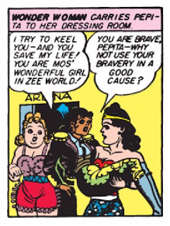 Wonder Woman (1942) #1 Page 53 Panel 5: Wonder Woman tries to persuade Pepita to use her talents for good.