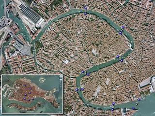 Mapa con los trayectos de traghettos.