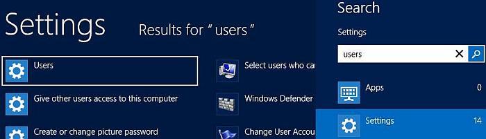 Windows 8, écran de démarrage, recherche de paramètres. Pour gérer les comptes d'utilisateurs, tapez 'utilisateur' dans la zone de recherche. Ensuite, cliquez sur Utilisateurs.