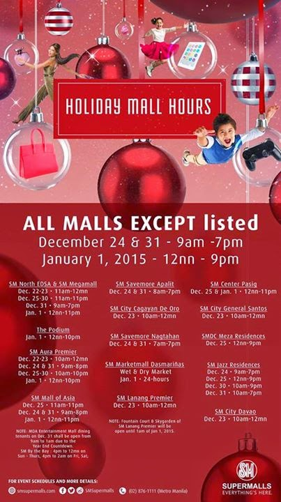 SM Malls Holiday Schedule