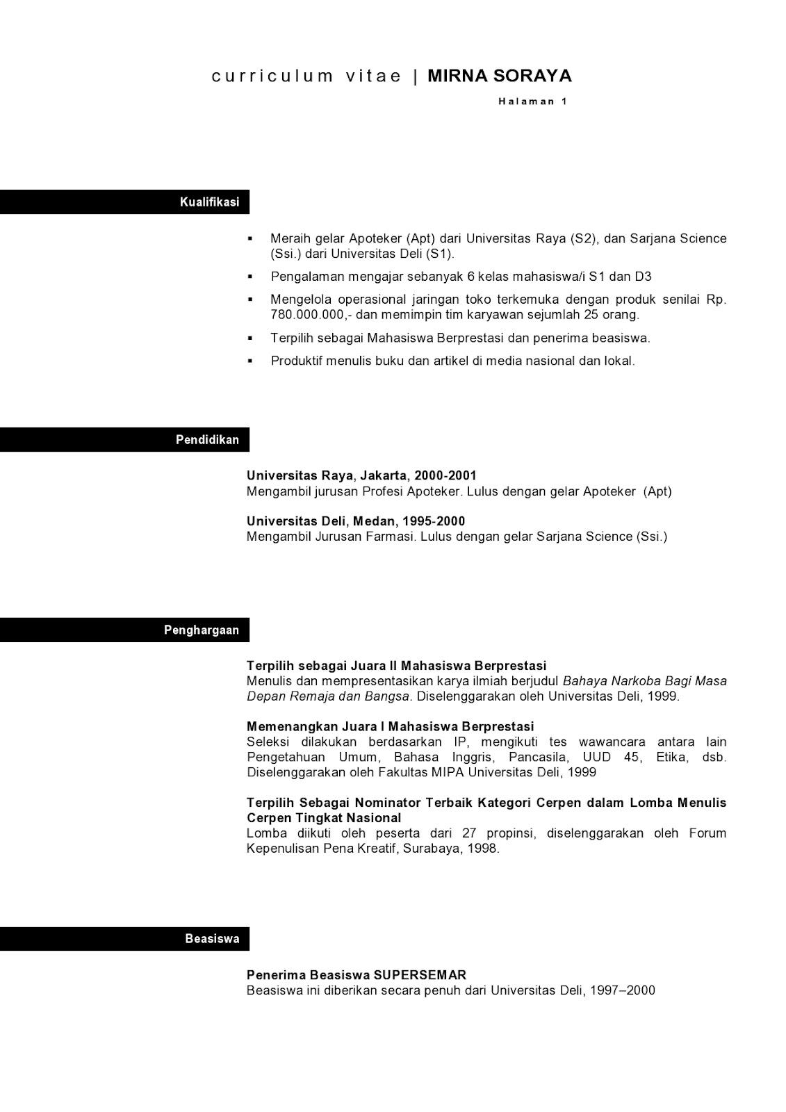 Contoh Curriculum Vitae Dalam Bahasa Indonesia Translation Cv Nabila
