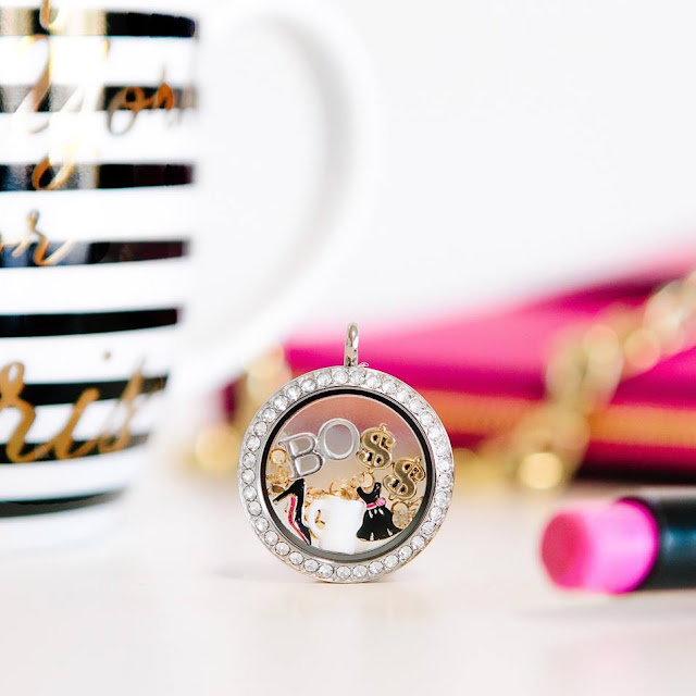 Celebrate being your own BOSS with this coll BOSS Living Locket available at StoriedCharms.com