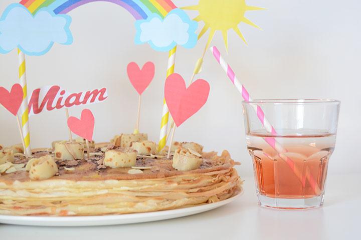 goûter gâteau de crêpes à la fraise