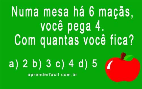 Numa mesa há 6 maçãs, você pega 4. Com quantas você fica?