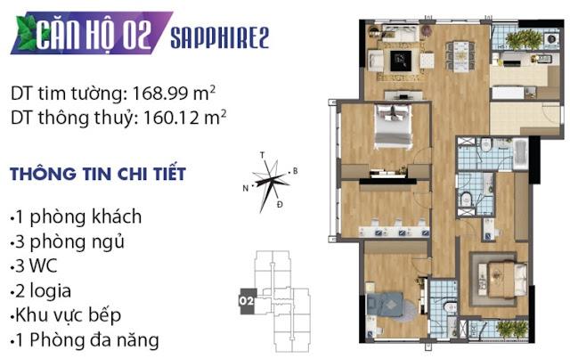 Thiết kế căn hộ số 2 tòa Sapphire 2