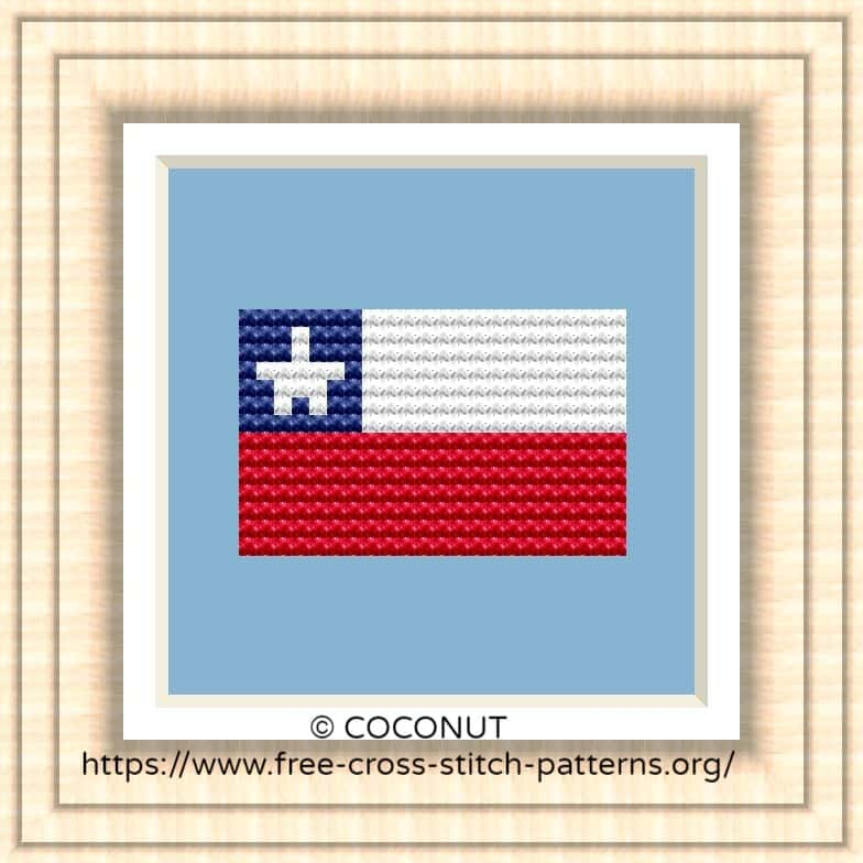 NATIONAL FLAG OF CHILE CROSS STITCH CHART