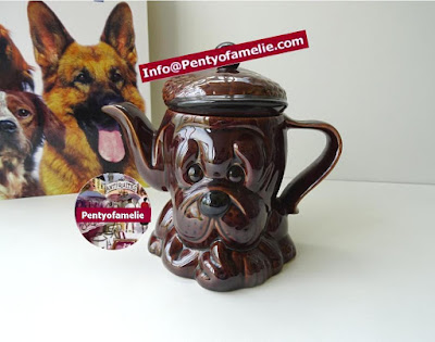 rare English Vintage Majolica Baby Bulldog wearing Famous Scottish Cap, Brownie glazed earthenware Teapot signed PandY