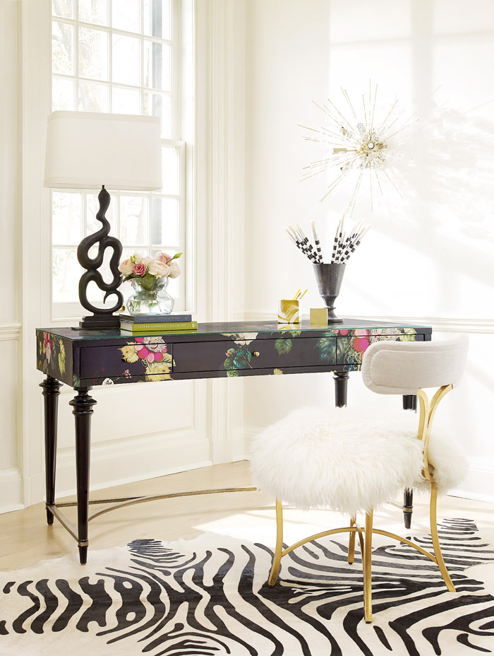 Cynthia Rowley Fleur De Glee floral desk. See how to get this look for less at monicawantsit.com