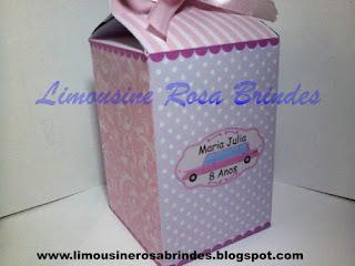 Caixinha Milk Limousine Rosa, Lembrancinha Limousine Rosa, Brinde Limousine Rosa, Tema Limousine Rosa, Festa Limousine Rosa
