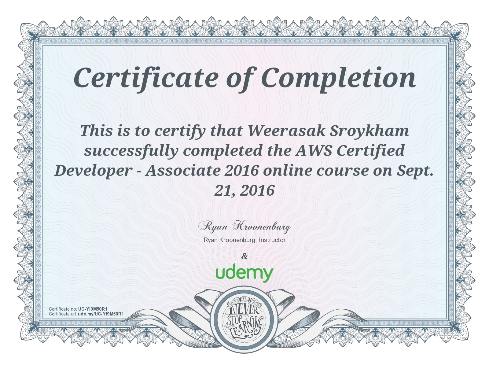 Course Aws Certified Developer Associate 2016 On Sept 21 2016 As