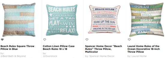 Shop Beach Rules Pillows