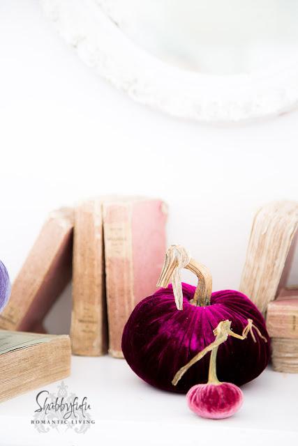 vintage french books pink pumpkins