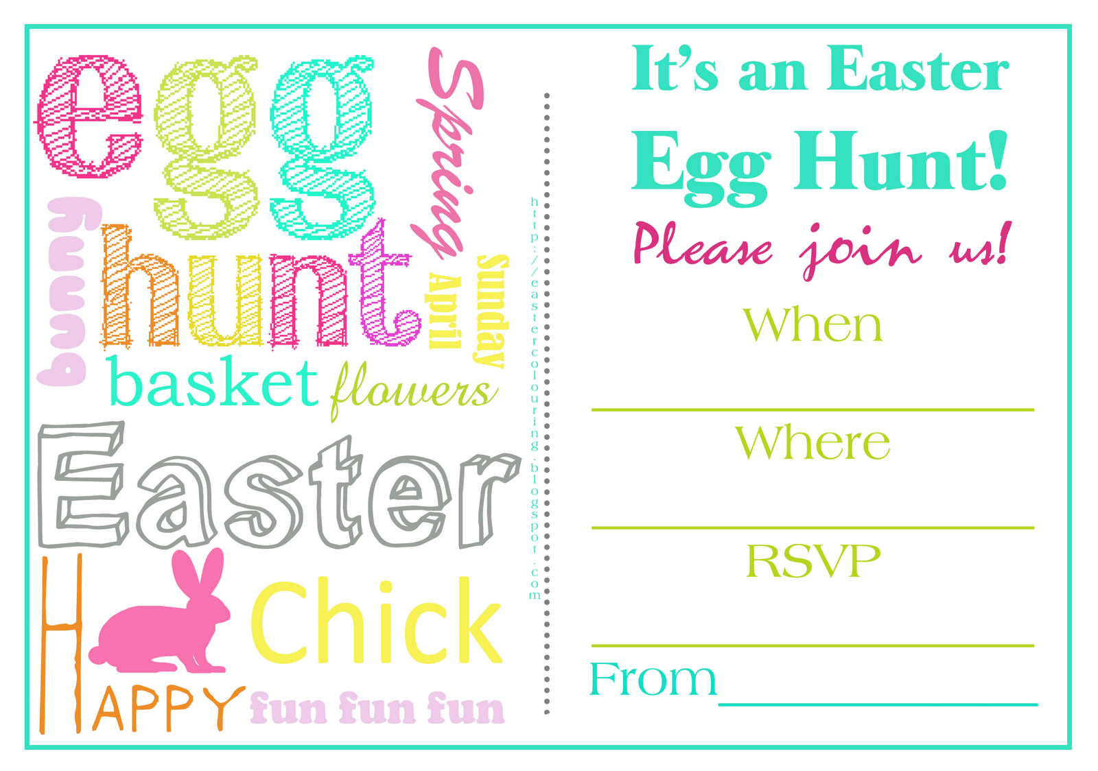 Easter Colouring Easter Egg Hunt Invitations