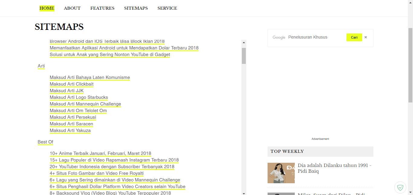 Membuat Daftar Isi atau Sitemaps Otomatis Pada Halaman Blog