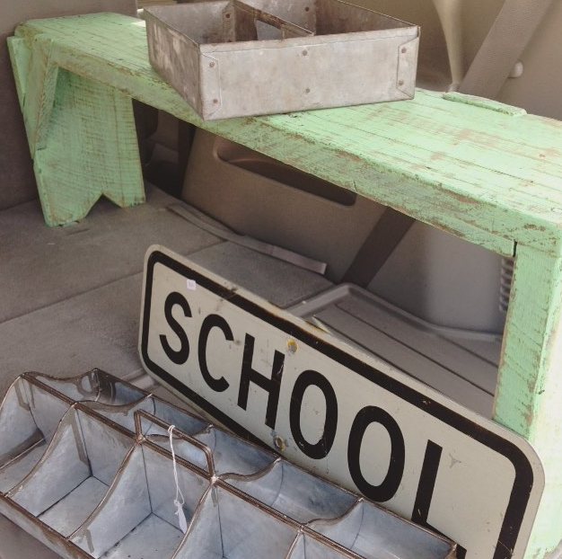 Vintage bench, SCHOOL sign and metal bins from Repurposed Soul