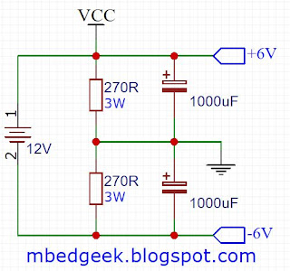 Dual power supply using resistor voltage dividers