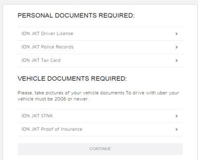 Formulir Registrasi Uber Taxi