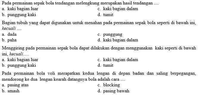 Kumpulan Soal Penjaskes Smp Kelas 9 Semester Ganjil Didno76 Com