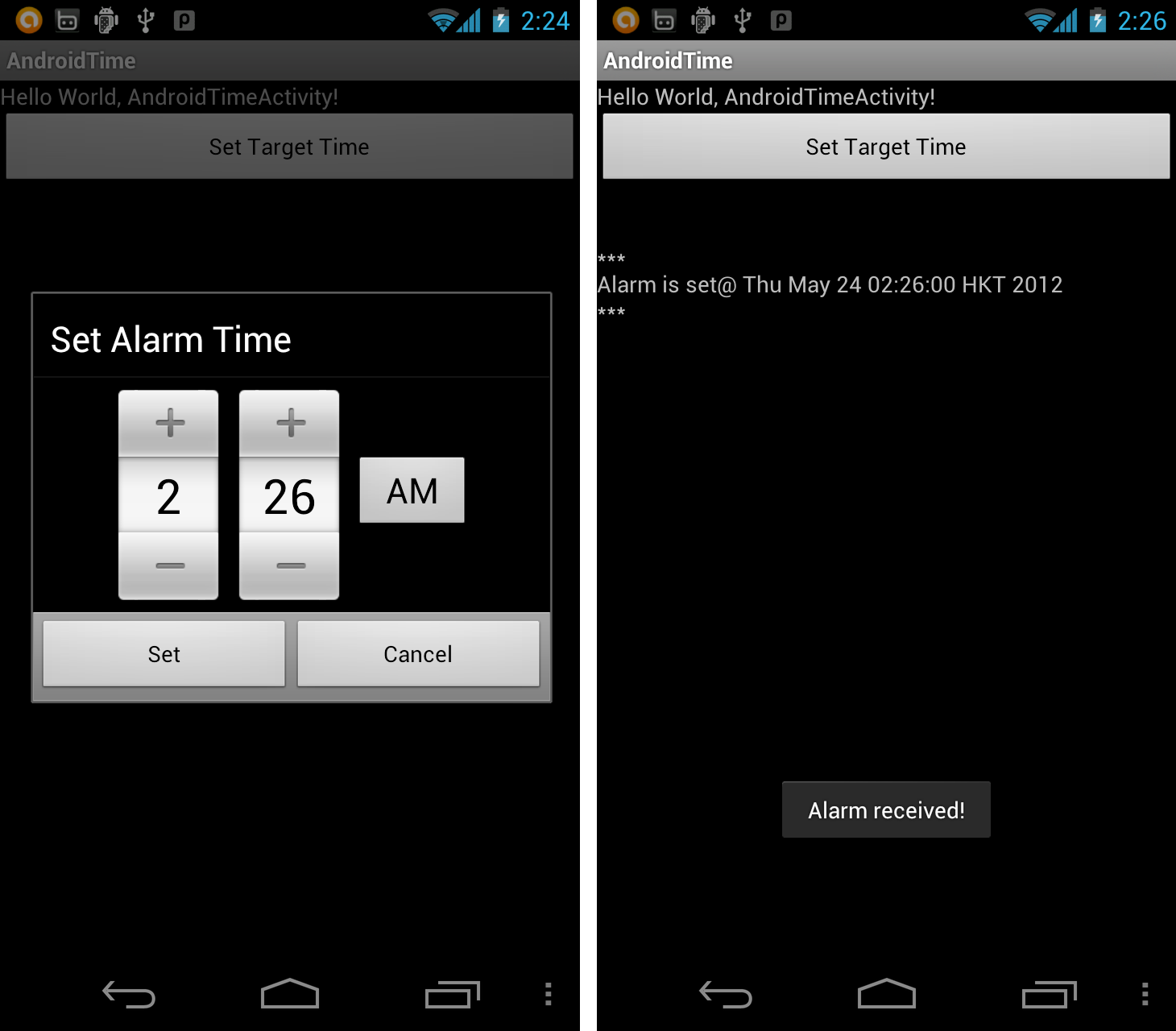 Android Er Create Alarm Set On A
