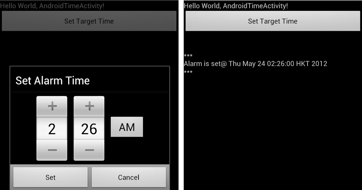 Android-er: Create alarm set on a specified time, using AlarmManager