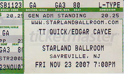 TT Quick & Edgar Cacye ticket stub from the Starland Ballroom. It was always great when these fuckers joined forces and ended up on the same stage at the same time. So much fucking talent up there that our fucking heads just about exploded. Great fucking nights they were!!