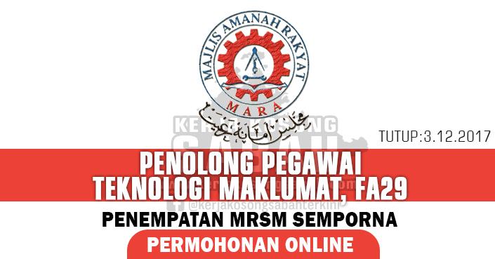 Jawatan Kosong Mara Penolong Pegawai Teknologi Maklumat Fa29 Jawatan Kosong Terkini Negeri Sabah