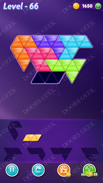 Block! Triangle Puzzle 6 Mania Level 66 Solution, Cheats, Walkthrough for Android, iPhone, iPad and iPod