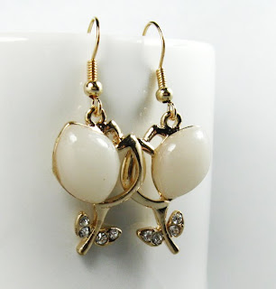14k yellow gold plated crystal stone earrings