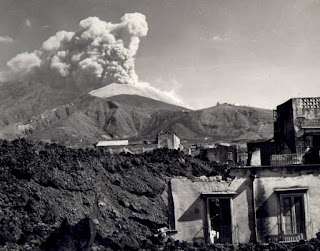 Vesuvius seen from the village of San Sebastiano al Vesuvio, which was largely destroyed in the 1944 eruption