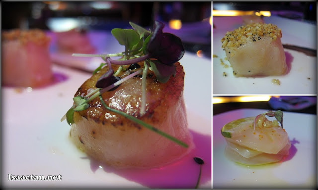 Experience #1: Scallop Trinity: Scallop carpaccio, Scallop topped with toasted almonds and rice, Plain pan-seared scallop