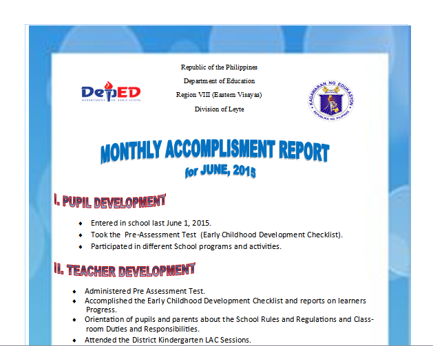 Monthly Accomplishment Report Sample Guide DepEd LPs – Monthly Report Format