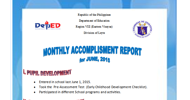 Monthly Accomplishment Report Sample Guide DepEd LPs – Monthly Report Sample