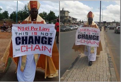 A clergyman Bishop Seun Adeoye protesting against fuel price hike