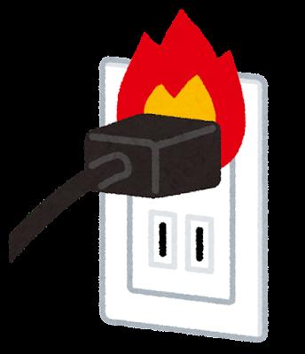 コンセントからの出火のイラスト