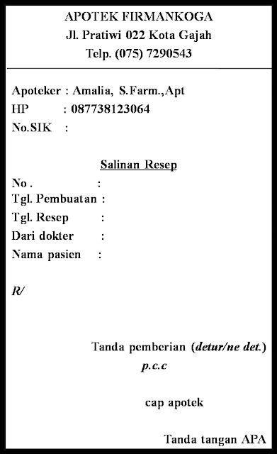 bagian-bagian salinan resep