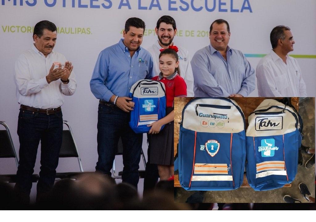 Tamaulipas; 80 Millones pagó el Gobernador de Tamaulipas por mochilas de Guanajuato que les sobraron