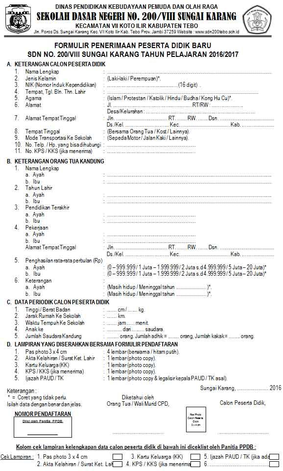 Contoh Format Formulir Penerimaan Siswa Baru Psb Penerimaan